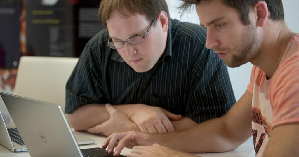 Pali and Andreas testing our product for accessibility