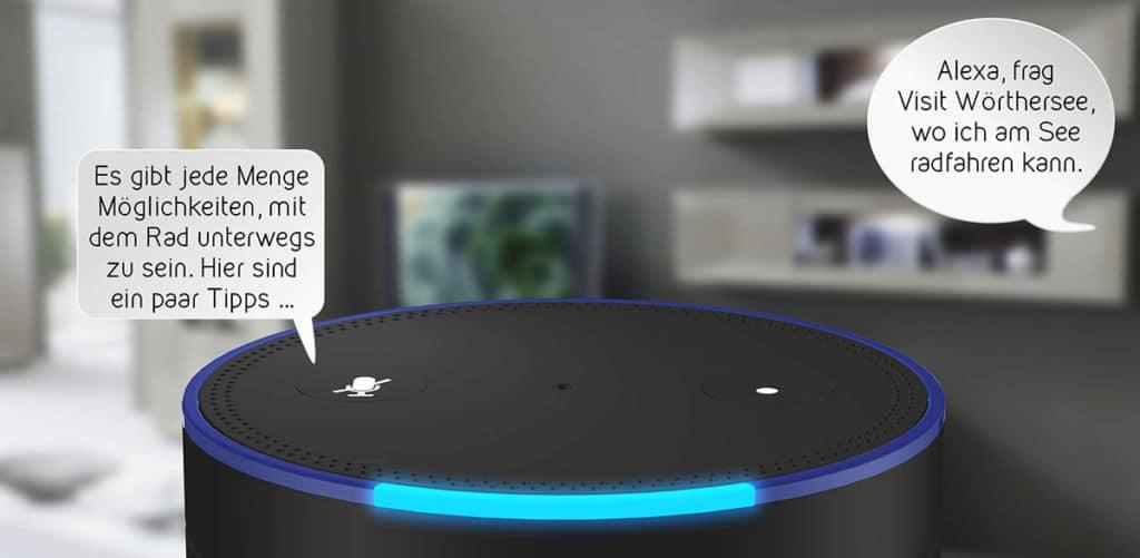 Amazon Echo Alexa mit deutschen Sprechblasen eines xamoom Dienstes