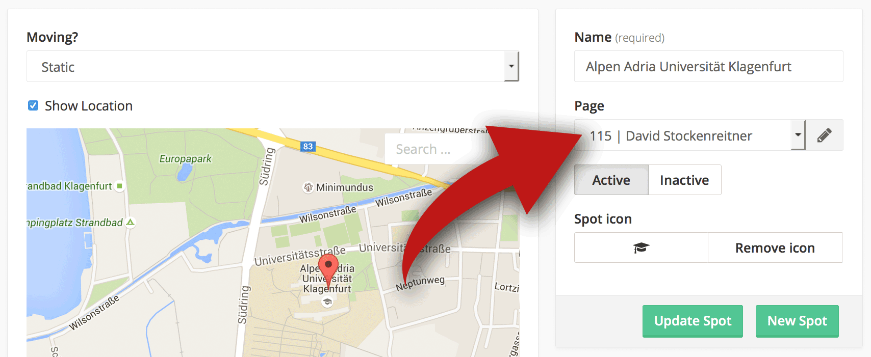 Screenshot that shows how easy it is to change the content of a spot (location or object)