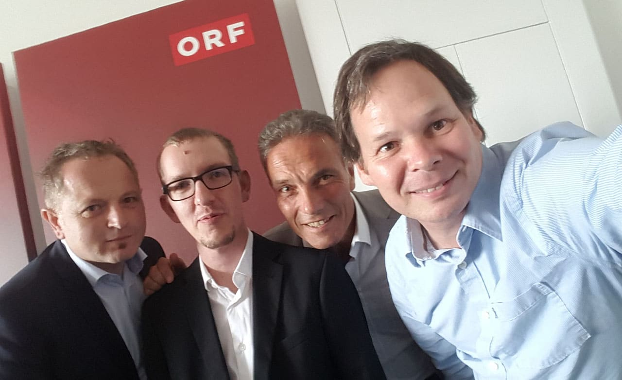 Ventocom and ORF invest in xamoom, group picture with Bruno and Georg as well as Michael Krammer and Gerald Reischl
