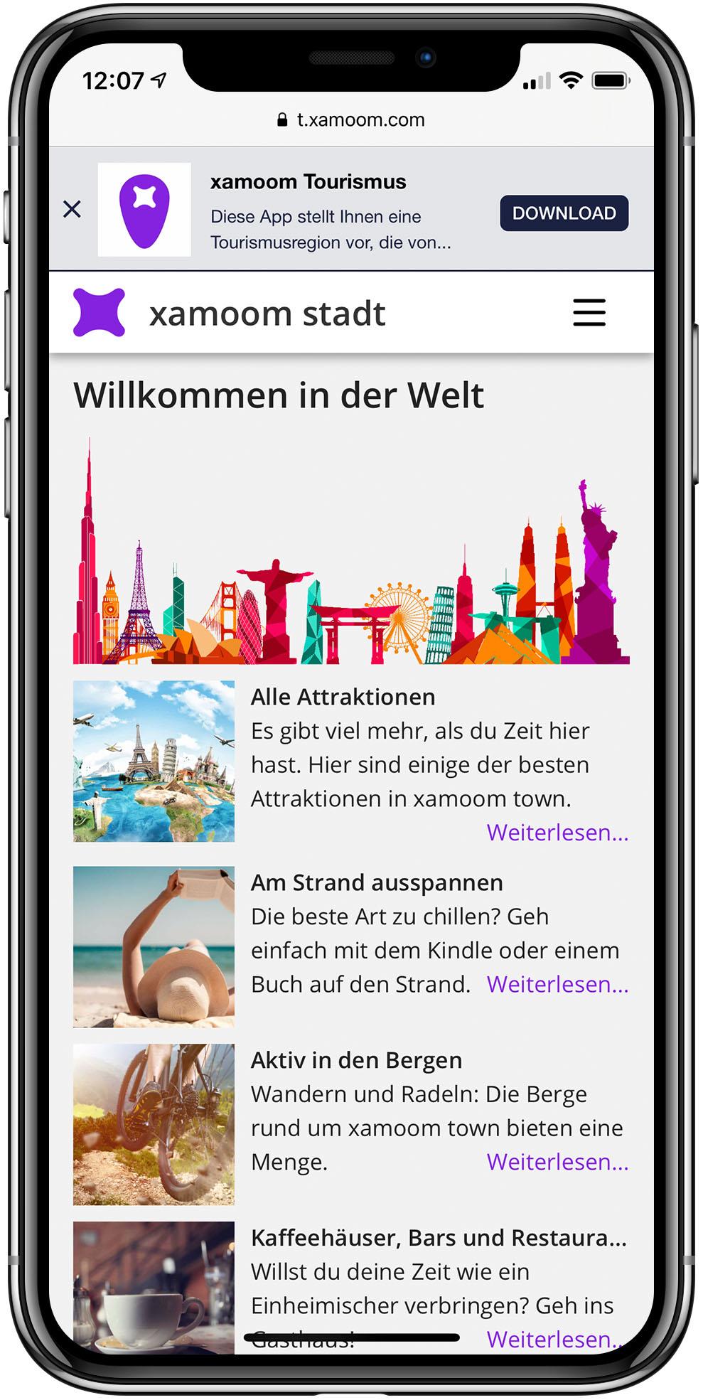 Mobile web Tourismus