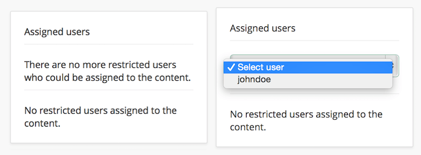 Screenshot of UI for xamoom's restricted user