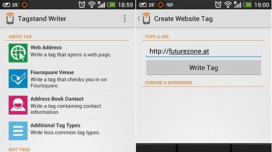 Screenshot of Tagstand Writer App for Android