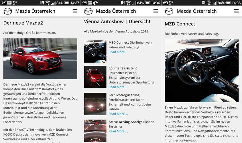 Screenshots Mazda Mobile