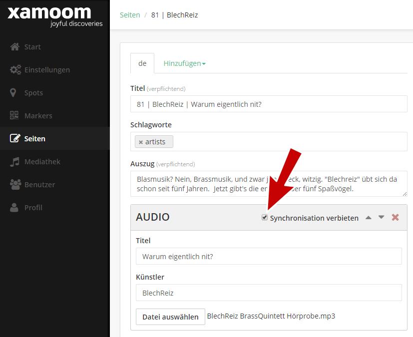 Screenshot of xamoom's WordPress Plugin