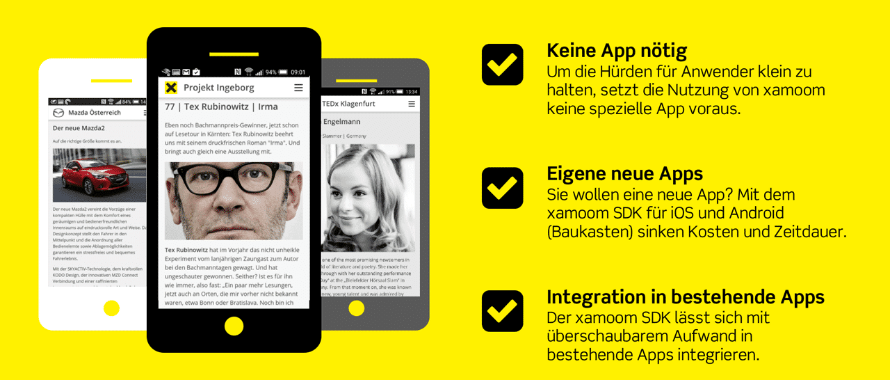 Infografik xamoom: apps, mobile web und integration