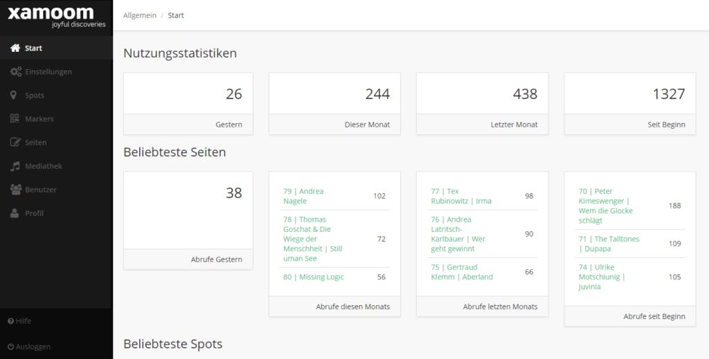xamoom statistics dashboard