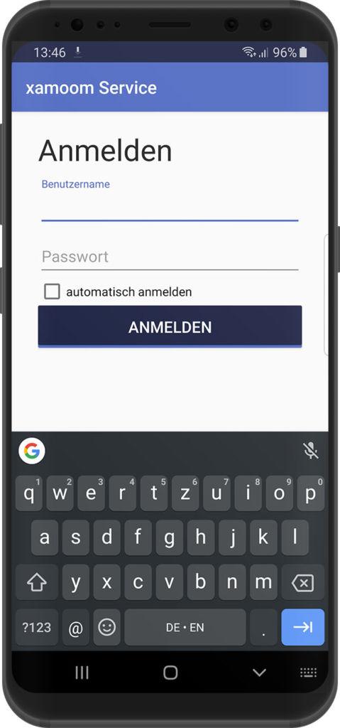 Anmelden bei der xamoom Service App