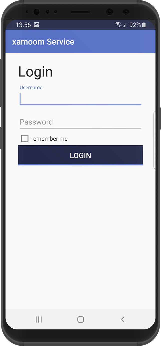 Login screen, xamoom Service App