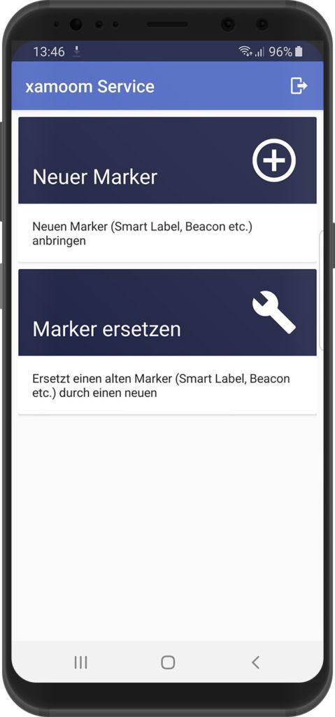 Auswahl der Aufgaben in der xamoom Service App