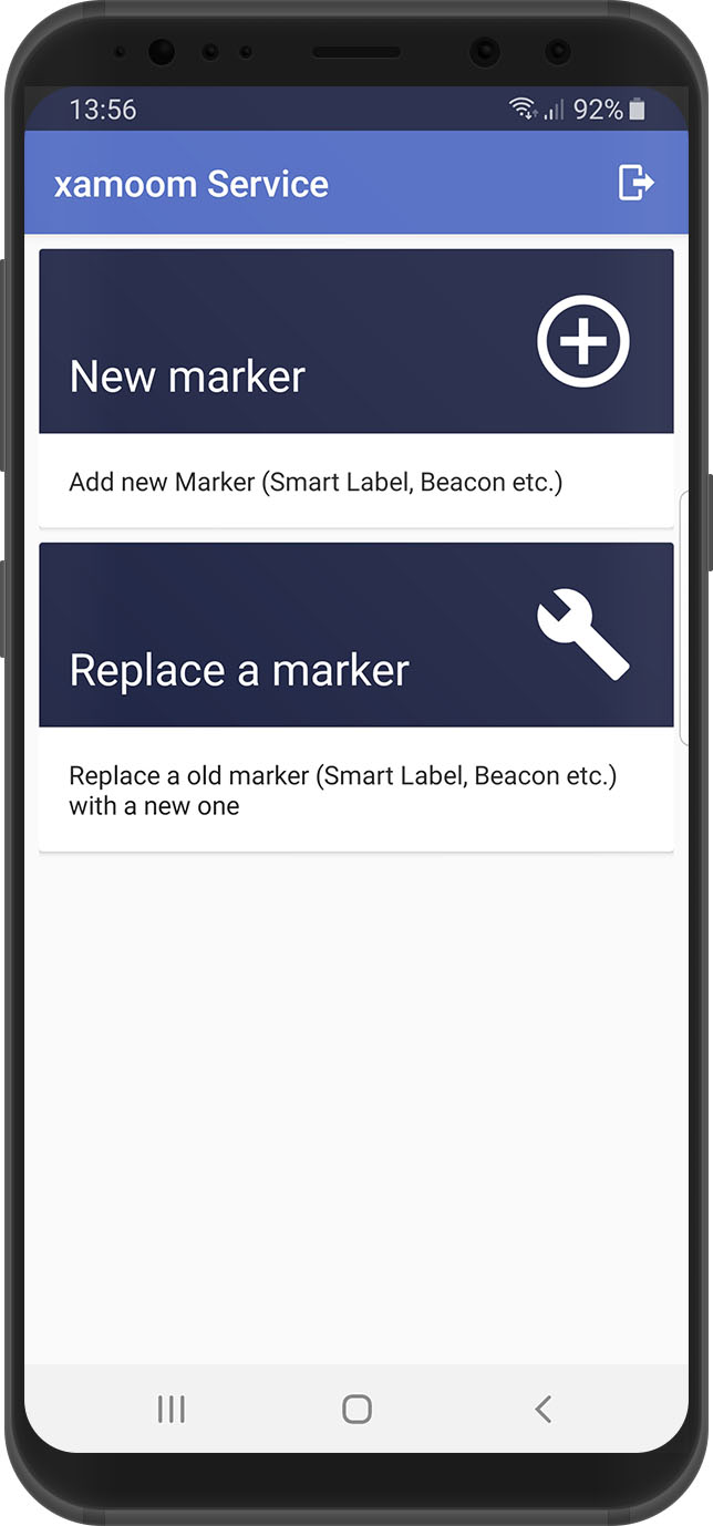 Selection screen, xamoom Service App