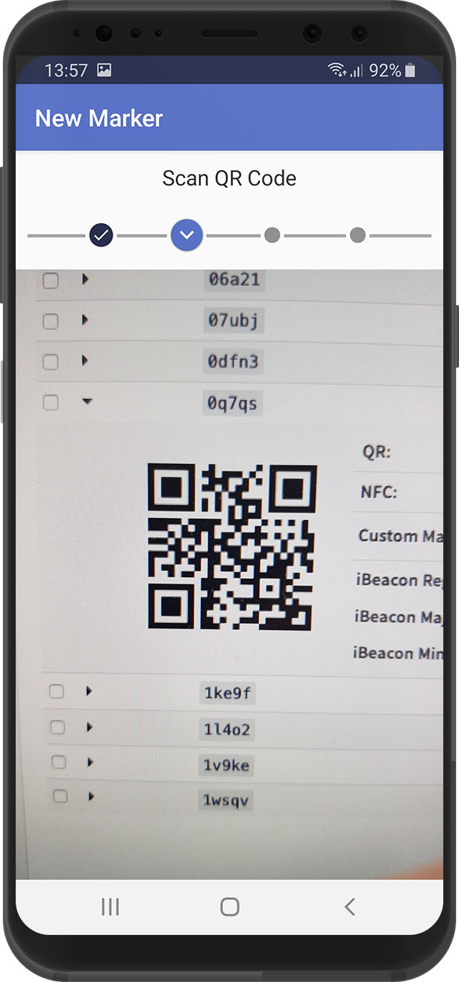 Scanning screen, xamoom service app