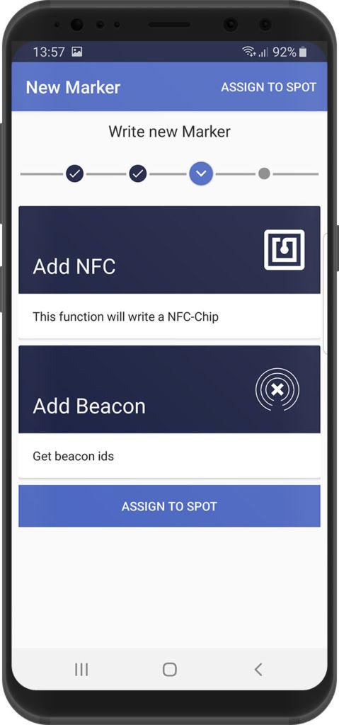 selection screen, xamoom service app